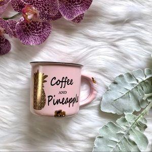 Coffee and Pineapple Pink Gold Mug